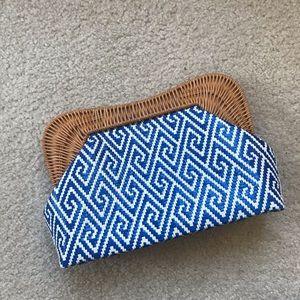 J. McLaughlin Blue White weaved clutch